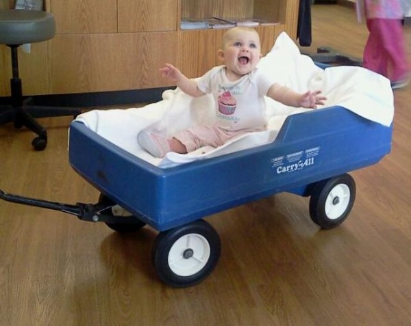 Addie in a wagon