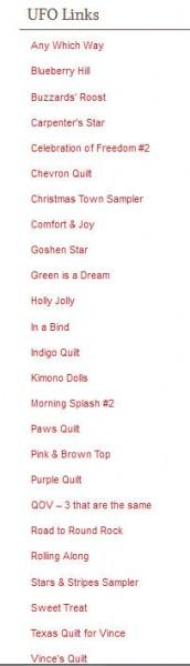 UFO List as of 4/15/2013