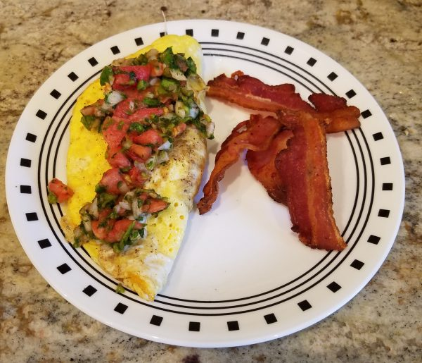 Omelette with freeze dried pico de gallo